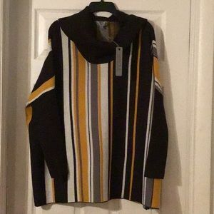 Gold black and white poncho sweater